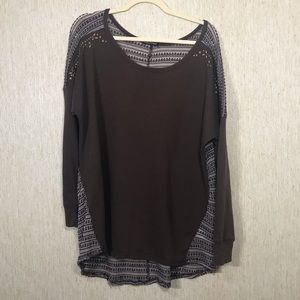 MAURICES Brown Mixed Material Tunic, Size 20/22